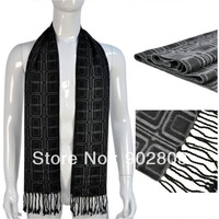 Min.order $15 free shipping ,New design fashion winter black and grey tone style knitting men's polyester square scarf ,NL-1837