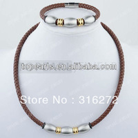 Free Shipping! 304 Stainless Steel Brown Leather Cord Necklace & Bracelet SSJ117