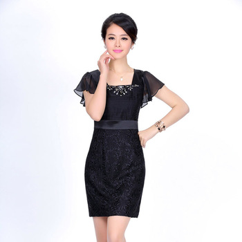 Free shipping 2013 summer women's mulberry silk fashion slim beading embroidered short-sleeve silk one-piece dress