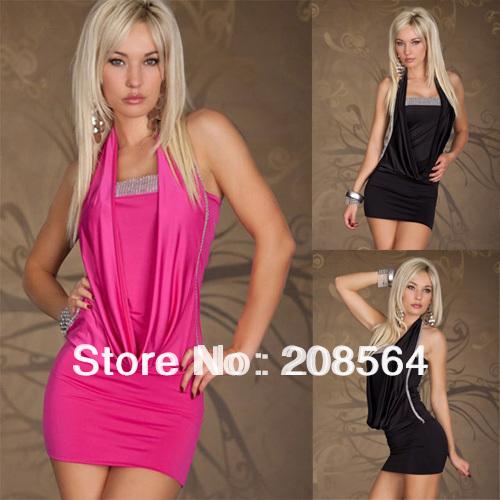 Newest Design Women's Rhinestone Decoration Party Dress Neck Halter Hang Clubwear Elastic Costume 411(China (Mainland))