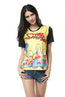 2013 Women Cartoon Korean the Simpsons T-shirt  Black O-neck Digital Tie-dyed Short-sleeved Clothes Wholesale