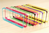 Colorful Transparent Flexible Ultra Thin Soft TPU Frame Bumper Case Cover For IPhone 4 4S + Free shipping 20Pcs/lot Wholesale