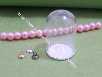 25*38mm Bell Glass globe bubble + 25mm white Paint tray/+silver/bronze/gold connector can be choose/20set