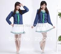Kuroko no Basketball Aida Riko Girls school uniforms Cosplay Costume - Blue+White Free Shipping