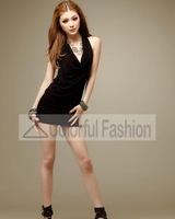 Fashion Cotton Solid Paillette Halter Backless Sleeveless Thigh Length Slim Women Dress