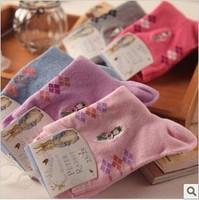 (6Pairs/Lot)Hot sale Cartoon embroidery rabbit 100% cotton socks at home casual rabbit design women socks