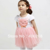wholesale best quality  fashion  girl's dress Short Sleeve  cute Bear head summer children dress Gauze  2013 new free shipping