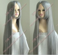 Free shipping  Ash meters high temperature wire cos wig lengthen thickening Dark bangs gray 1 meters straight hair