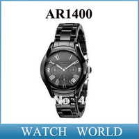 HK Free shipping New Mens Ceramic Black Chronograph Dial Quartz Wrist Watch AR1400 + Orignal Box with logo AR 1400