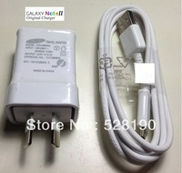 100% genuine Original charger for Samsung Galaxy Note N7000 N7100 2A galaxy s4 i9500 Charger Adapter +micro USB Cable white 100x