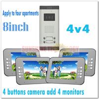 """Multi-unit 8"""" color video door phone intercom systems/Door bells for 4 apartments/Villas (4 keys camera add 4 monitors)"""