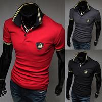 Hot Men's wear short-sleeved trendy short rib collar man's short-sleeved t-shirts male brand poloshirt cotton t shirt man tshirt