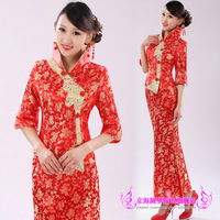 Short-sleeve 2013 bride cheongsam chinese style marriage dress toast formal welcome summer costume set 05