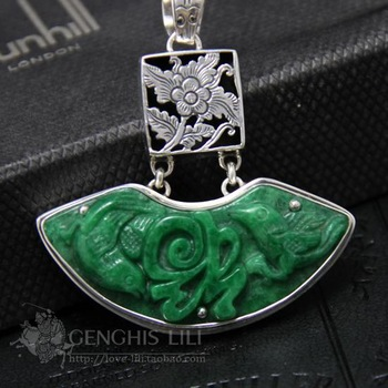 Pure silver exquisite inlaying iron dragon necklace pendant