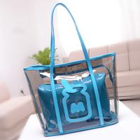 Freeshipping summer transparent bag crystal bag female shoulder bag bottle neon color women's handbag plastic pvc waterproof bag