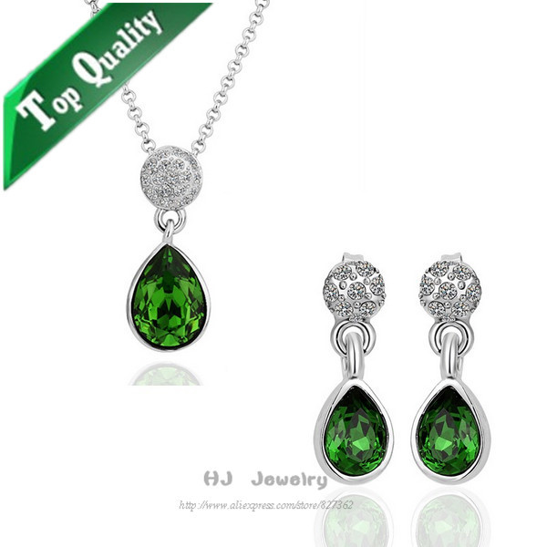 S125 jewelry set with emerald clear rhinestone sets jewelry|bulk necklace sets for girls|wholesale wedding sets women(China (Mainland))