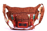 Wholesale Vintage Shoulder Messenger Bags handbags Women Sling Bag Indian Style Cotton Revit + Wooden Bead Charm  Holiday Gift