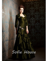 Newest sweetheart floor length 3/4 sleeve crystal beaded green taffeta a line mother of the bride dresses with jacket