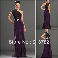 Custom New Fashion New Arrival 2013 On Sale Modest  One Shoulder Formal Party Dress Gowns Women's Long Evening Dresses With lace