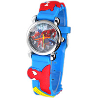 2pcs Drop Shipping! sky Blue Spiderman 3D Cartoon Children Boys Kids Quartz Watches Wrist Watches Gift.