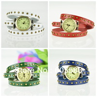 50pcs/lot  DHL Free shippping,colorful  women leather wrap watches, punk style long strap watch