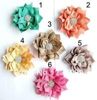 "Free Shipping!!3"" handmade Rhinestone Fabric Flower For Girl Hair Bow DIY 60pcs/Lot"
