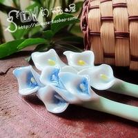 Handmade hairwear hair stick brief ceramics calla lily hair stick hairpin lily hairpin steadily high
