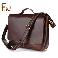 First layer cowhide oil skin commercial big business briefcase handbag fashion genuine leather man bag messenger bag laptop bag