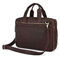 Vintage Genuine real leather  Men buiness handbag  laptop briefcase  shoulder Travel bag  / man  messenger  bag  JMD7092R-308