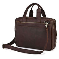 Vintage Genuine real leather  Men buiness handbag  laptop briefcase  shoulder Travel bag  / man  messenger  bag  JMD7092R-308