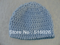 Wholesale 50pcs/lot  Blue Crochet Baby Beanie Hat for baby boy photography props, Basic Beanie for boy,  MADE TO ORDER