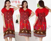 CVVZO   Women's elegant summer cotton printed Kimono Robe Sleepwear Dress  HXCV18