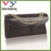 hot sale italy newest style genuine crocodile pattern cow leather should women handbags in double cover design clutch wallet
