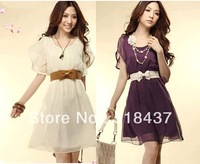 women dresses 2013 new fashion women's one-piece dress vintage ruffle dress with belt women fashion clothing free shipping