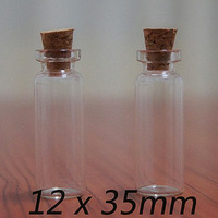 Wholesale 500/lot 2ml Mini Glass Bottle with cork, sample vials. wishing bottle 12*35*06 MM