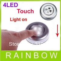 4pcs/lot RA 4 LED Stick on Tap Lights Adhesive Night Push Touch Peel Stick 4 LED Free Shipping