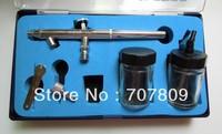 Free shipping Airbrush Spray Gun Dual Action Airbrushing  makeup tattoo Kits 0.35 mm needle/nozzle,2pcs 22cc Glass jar