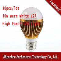 10Pcs/Lot 10W Warm White E27 High Power LED Light Lighting Globe Lamp Bulb 110-240V 220V