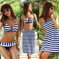 Hot Sale  Navy Zebra Striped Hot Sexy Women Plus Size Lady Swimwear for Summer 3pcs/set free shipping