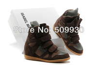 2013 Hot Isabel Marant Wedges Sneakers Women Shoes Height Increasing Fashion Boots Genuine Brand brown