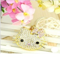 Free Shipping Hello Kitty Crystal USB Flash Drive Necklace 8GB 16GB 32GB