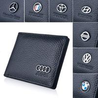 Luxury genuine leather documents folder belt emblem logo driver's license travel documents book 3