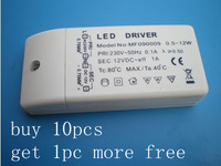 Wholesale 10ps lowest price LED bulb MR16 light lamp Driver Transformer Power Supply DC 12V 12w led drivers +1pc free gift