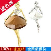 (mixed order $ 6, free shipping) ballet girl elegant crystal brooch 11g