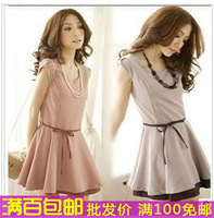 Skirt top ladies short-sleeve dress one-piece dress slim chiffon one-piece dress miniskirt