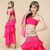 belly dance set one shoulder rhinestone transparent gauze top set  dance clothes