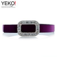 rhinestone side buckle velvet silk satin fabric rv belt artificial crystal diamond inlaying thin belt