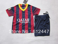 Barca  Home Kids Soccer Kits 2013/14 ,Messi  Home Child soccer uniform.Kids Soccer Uniform,size 16-28