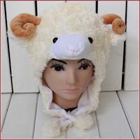 Free shipping Cartoon Animal Hat beige Sheep Warm Cap Plush Hat