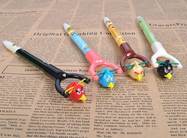 2013Mix Cartoon Birds Style Plastic Ballpoint Pen With A Slingshot Kids Gift Creative Stationery Low Price Promotional Pen(China (Mainland))